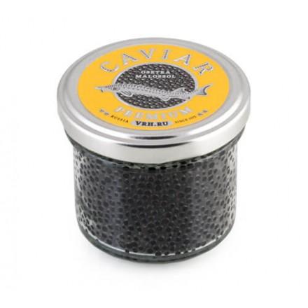 Черная икра осетровая дойная непастеризованная Premium 100г, стекло, Волгореченск