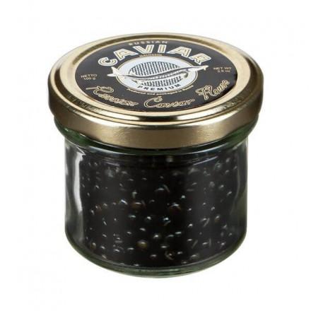 Черная икра осетровая забойная пастеризованная Премиум 100г, стекло, Русский Икорный Дом