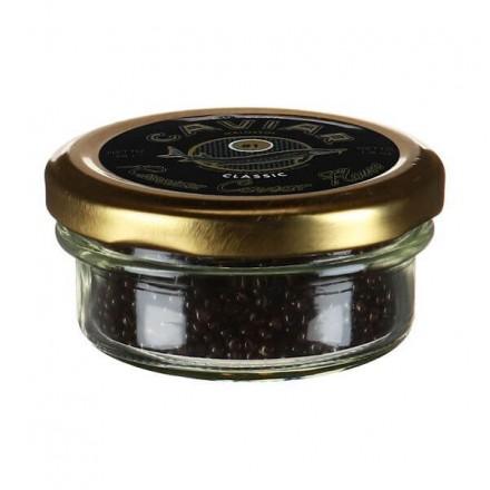 Черная икра осетровая дойная пастеризованная Классик 57г, стекло, Русский Икорный Дом